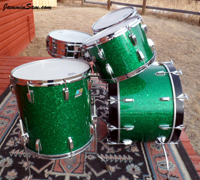 Photo of Michael Gillan's drums with Deep Green Glass Glitter drum wrap (23)
