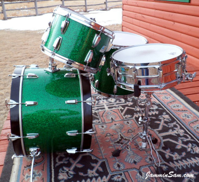 Photo of Michael Gillan's drums with Deep Green Glass Glitter drum wrap (24)