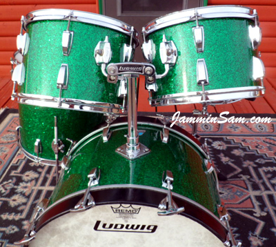 Photo of Michael Gillan's drums with Deep Green Glass Glitter drum wrap (26)