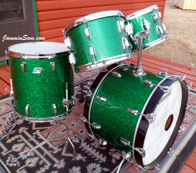 Photo of Michael Gillan's drums with Deep Green Glass Glitter drum wrap (27)