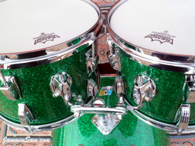 Photo of Michael Gillan's drums with Deep Green Glass Glitter drum wrap (31)