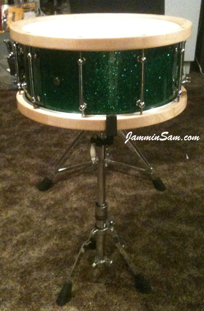 Photo of Steve Geller's snare with Deep Green Glass Glitter drum wrap (21)