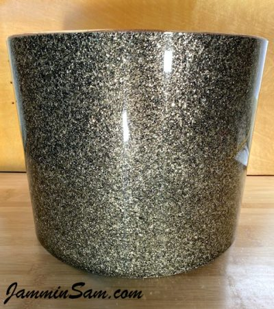 Photo of JamminSam's marching tom with Fools Gold Glass Glitter drum wrap (2)
