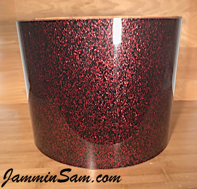 Photo of JamminSam's marching tom with JS Red Galaxy Glass drum wrap (27)