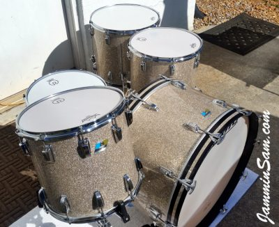 Photo of Mark Wenberg Sr.'s Ludwig Classic drums with Silver Glass Glitter drum wrap (3)