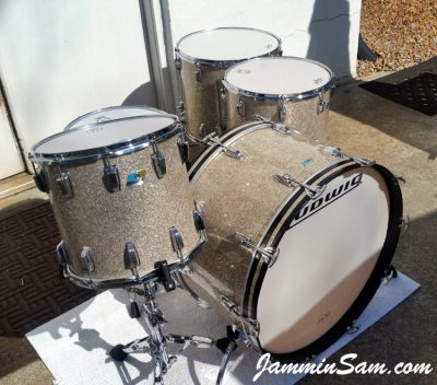 Photo of Mark Wenberg Sr.'s Ludwig Classic drums with Silver Glass Glitter drum wrap (39)