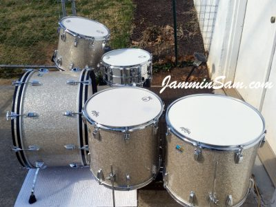 Photo of Mark Wenberg Sr.'s Ludwig Classic drums with Silver Glass Glitter drum wrap (47)