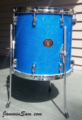 Photo of Timothy Hornbeck's Rogers drumset with Blue Glass Glitter drum wrap (9)