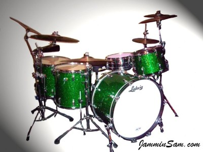 Photo of Charlie Glasgow's Ludwig drums with Deep Green Glass Glitter drum wrap