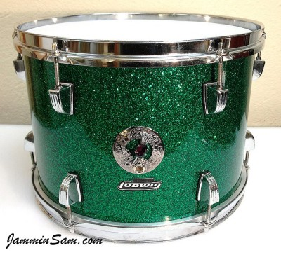 Photo of Nick Parslow's Ludwig tom with Deep Green Glass Glitter drum wrap (1)
