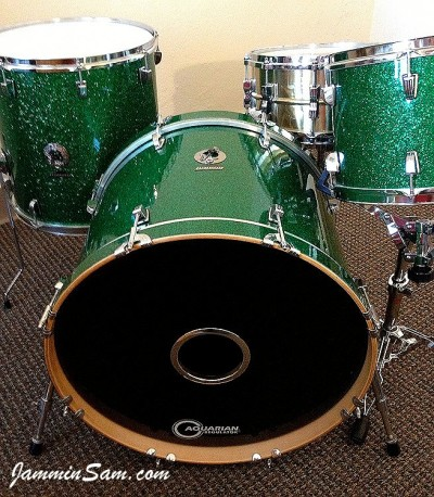 Photo of Nick Parslow's Ludwig drums with Deep Green Glass Glitter drum wrap (2)