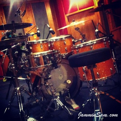 Photo of Terrence Clark's drum set with Gold Glass Glitter wrap (pic 1)