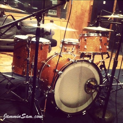 Photo of Terrence Clark's drum set with Gold Glass Glitter wrap (pic 2)