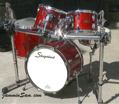 Photo of Thomas Goff's Slingerland drums with Red Glass Glitter drum wrap (1)