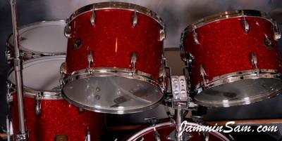 Photo of Tom Schlitter's 1971 Gretsch drums with Red Glass Glitter drum wrap (1)