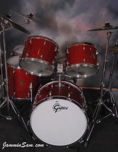 Photo of Tom Schlitter's 1971 Gretsch drums with Red Glass Glitter drum wrap (3)