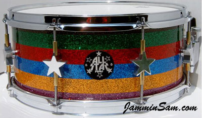 Photo of John Langdon's snare with multiple colors of Glass Glitter drum wrap from JamminSam