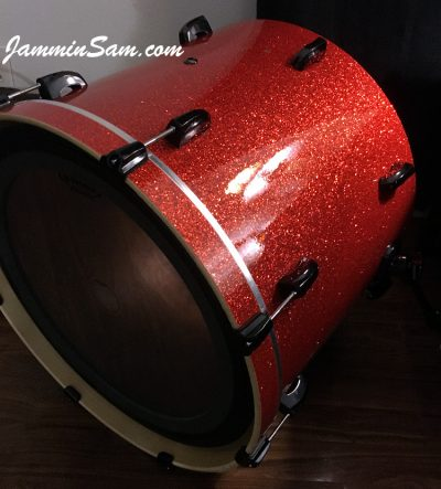 Photo of Dude Conrad's Pearl drum with Super Tangerine Glass Glitter drum wrap (25)