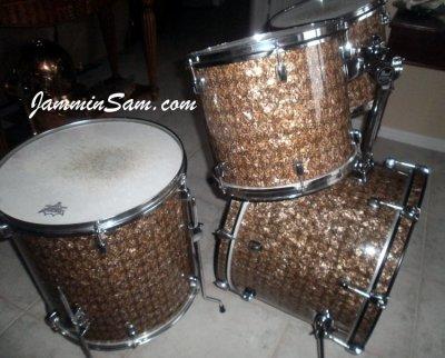 Photo of Doug Goethel's drumset with Golden Boa Pearl drum wrap (3)