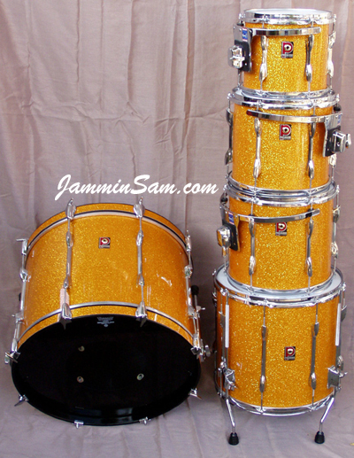 Photo of Peter Hopkins drum kit with Gold Glass Glitter drum wrap