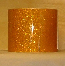 Drum Wrap Material: Example of Gold Glass Glitter on a drum shell also known as crushed glass.