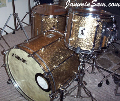 Photo of Brian Jones Sonor drums with Gold metal drum wrap