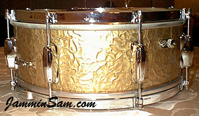 Photo of Donn Garrett's Slingerland snare with Gold Metal drum wrap (2)