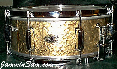 Photo of Donn Garrett's Slingerland snare with Gold Metal drum wrap