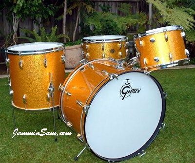 Photo of Jim Ludy's Gretsch drumset with Gold Vintage Sparkle drum wrap