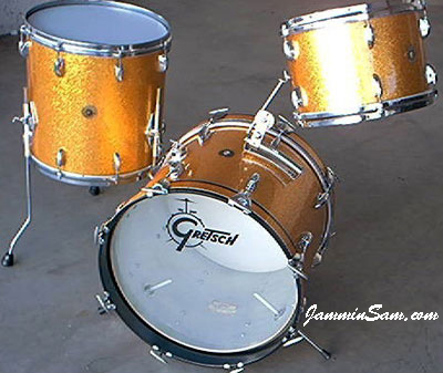 Photo of Rob Schuh's Gretsch drums with Gold Vintage Sparkle drum wrap