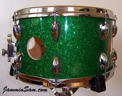 Photo of Christian Danger's drums with Deep Green Glass Glitter drum wrap