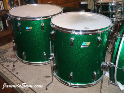 Photo of Aris Chapa's Ludwig floor toms with Deep Green Glass Glitter drum wrap (4)