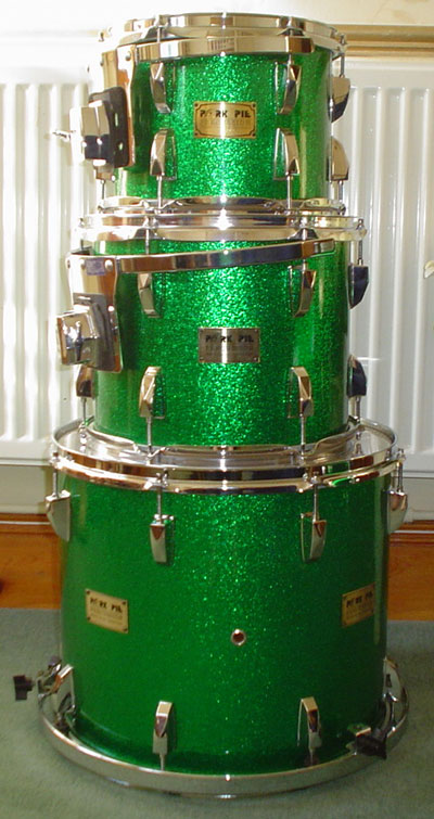 Photo of Ashley Bugler's Pork Pie drums with Vintage Green Sparkle drum wrap (2)