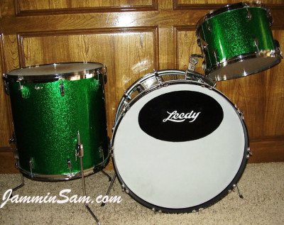 Photo of Howard Friedman's Leedy kit with Vintage Green Sparkle (1)