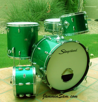 Photo of Kevin Christman's set of Slingerland drums with Vintage Green Sparkle drum wrap (1)