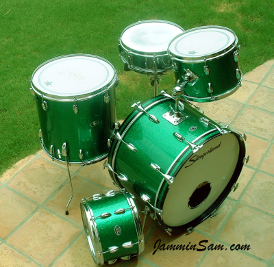 Photo of Kevin Christman's set of Slingerland drums with Vintage Green Sparkle drum wrap (2)