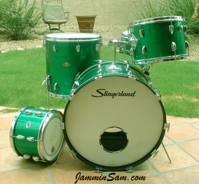 Photo of Kevin Christman's set of Slingerland drums with Vintage Green Sparkle drum wrap (3)
