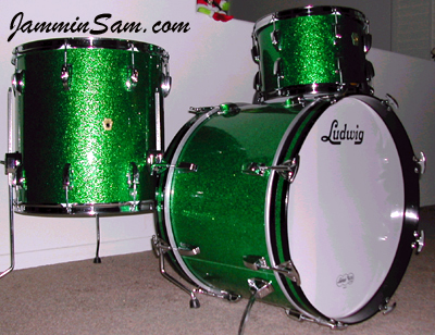 Photo of Kevin Love's Ludwig drum set with Green Sparkle drum wrap (1)