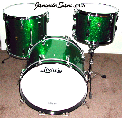 Photo of Kevin Love's Ludwig drum set with Green Sparkle drum wrap (2)