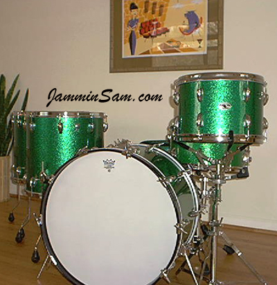Photo of Mike Wood's Slingerland drums with Vintage Green Sparkle drum wrap (1)