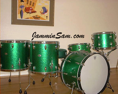 Photo of Mike Wood's set of Slingerland drums with Vintage Green Sparkle drum wrap (2)