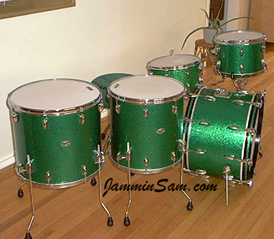 Photo of Mike Wood's Slingerland drumset with Vintage Green Sparkle drum wrap (3)