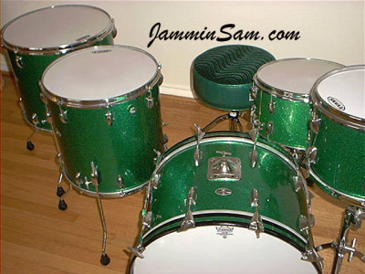 Photo of Mike Wood's Slingerland drums with Vintage Green Sparkle drum wrap (4)