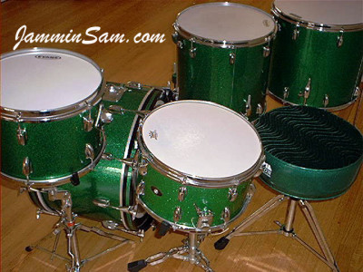 Photo of Mike Wood's Slingerland drums with Vintage Green Sparkle drum wrap (5)