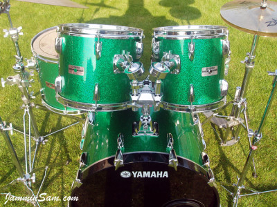 Photo of Paul Finlay's Yamaha drums with Green Vintage Sparkle drum wrap (23)