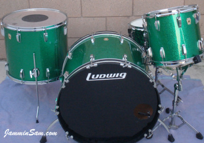 Photo of Robert Pritchard's Ludwig set with Vintage Green Sparkle drum wrap (7)