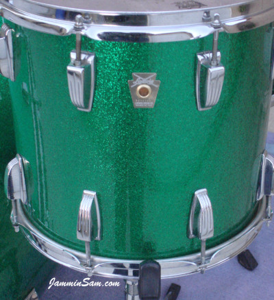 Photo of Robert Pritchard's Ludwig set with Vintage Green Sparkle tom (24)