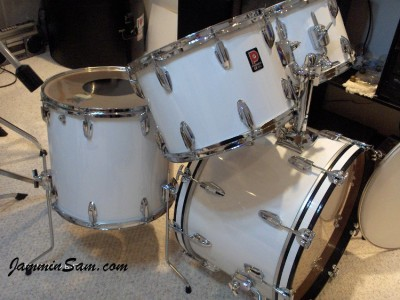 Photo of Patrick Updike's Premier drums with JS Hi Gloss White drum wrap (1)