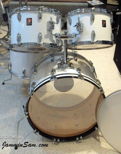 Photo of Patrick Updike's Premier drums with JS Hi Gloss White drum warp (3)