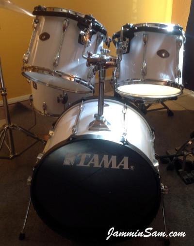 Photo of Robert Gonzales's Tama Rockstar with JS Hi Gloss White drum wrap (1)
